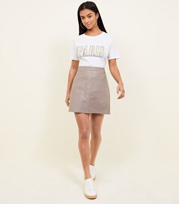 Petite Mink Leather-Look Mini Skirt