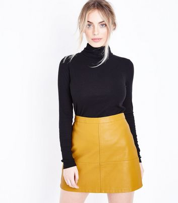 Petite Yellow Leather-Look Mini Skirt
