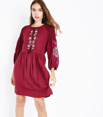Tall Burgundy Embroidered Smock Dress