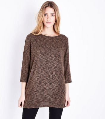 Tall Khaki Lattice Back Fine Knit Top