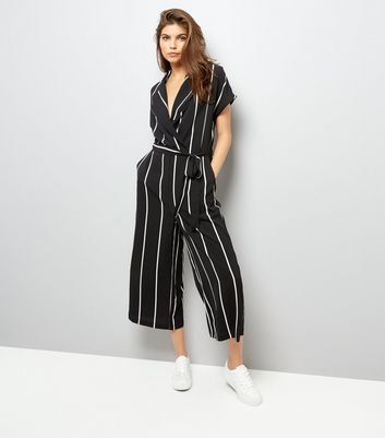 Black Stripe Wrap Front Culotte Jumpsuit