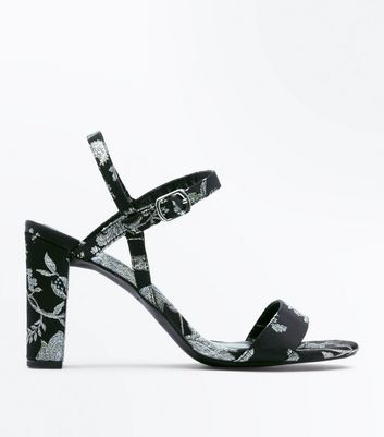 Wide Fit Black Floral Brocade Block Heel Sandals