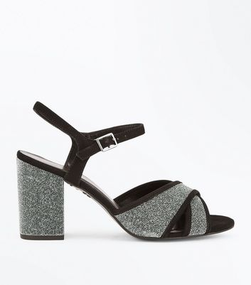 Wide Fit Silver Glitter Cross Strap Sandals