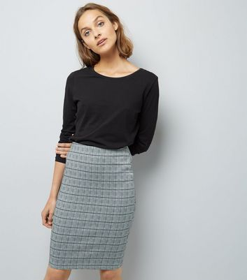 Black Houndstooth Check Stretch Pencil Skirt