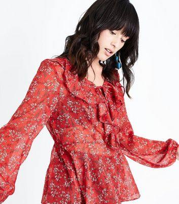 Red Floral Frill Tie Neck Blouse