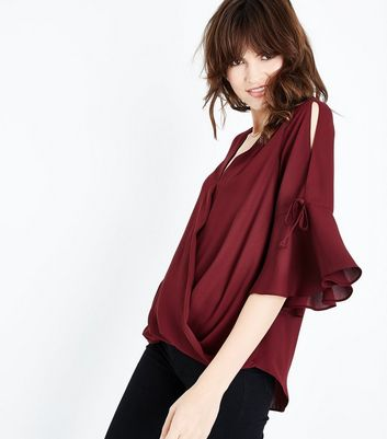 Dark Red Flared Sleeve Wrap Front Top