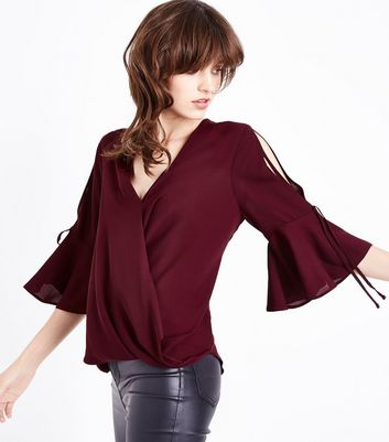 Burgundy Flared Sleeve Wrap Front Top