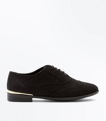 Wide Fit Black Suedette Metal Trim Brogues
