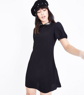 Black Embroidered Collar Tunic Dress