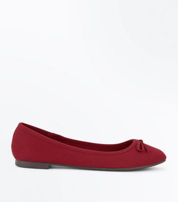 Wide Fit Dark Red Suedette Ballet Pumps