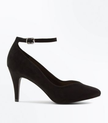 Wide Fit Black Suedette Ankle Strap Court Heels
