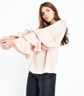 Nude Tiered Sleeve Top