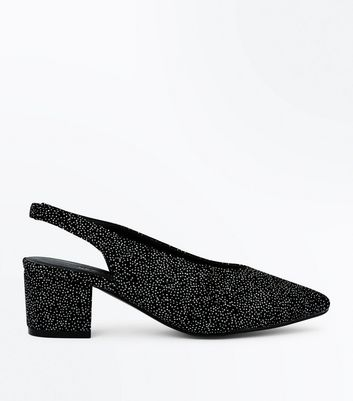 Wide Fit Black Velvet Glitter Pointed Sling Backs