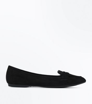 Wide Fit Black Suedette Pointed Loafers