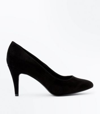 Wide Fit Black Suedette Almond Toe Court Shoes