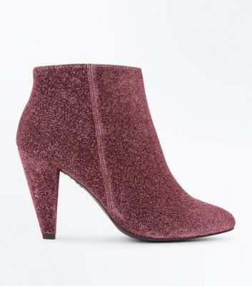 Wide Fit Pink Glitter Cone Heel Shoe Boots