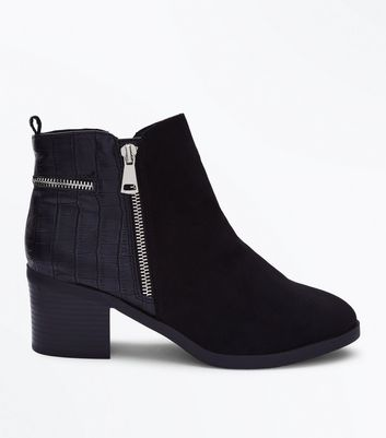 Wide Fit Black Comfort Croc Texture Ankle Boots