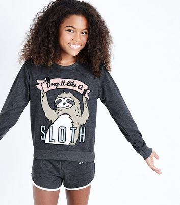 Teens Grey Drop It Like A Sloth Slogan Pyjama Set
