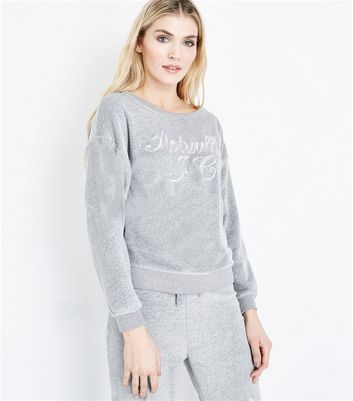 Grey Velour Slogan Embroidered Pyjama Sweater