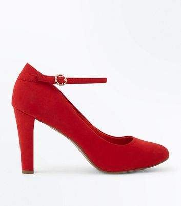 Red Comfort Flex Suedette Ankle Strap Courts