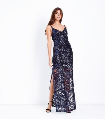 Navy Premium Sequin Maxi Dress