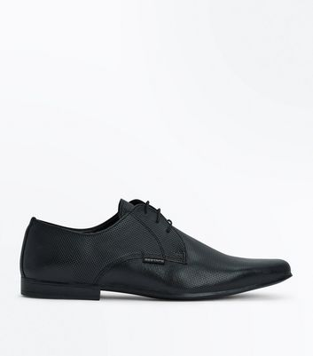 Black Perforated Leather Lace Up Shoes