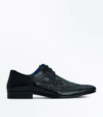 Black Leather Contrast Inner Brogues