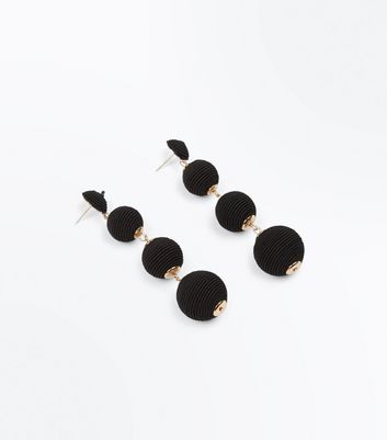 Black Textured Orb Drop Earrings