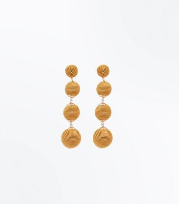 Mustard Yellow Textured Orb Drop Earrings