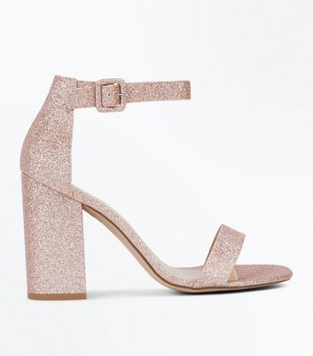 Rose Gold Gliitter Block Heel Sandals