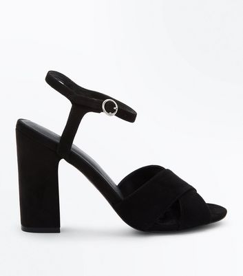 Black Suedette Block Heel Cross Strap Sandals