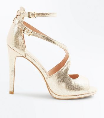 Gold Shimmer Strappy Peep Toe Sandals