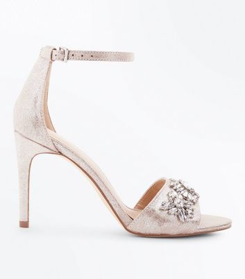 Silver Shimmer Gem Embellished Stiletto Sandals
