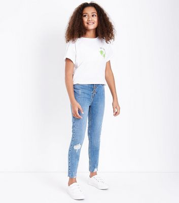 Teens Blue Ripped Button Front Skinny Jeans