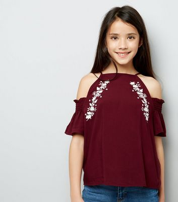 Teens Burgundy Floral Embroidered Cold Shoulder Top