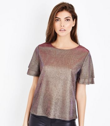 Lilac Metallic Tiered Sleeve Top