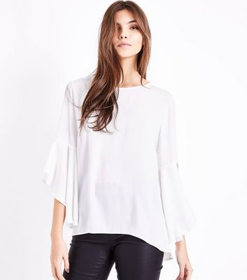 White Split Flared Sleeve Top