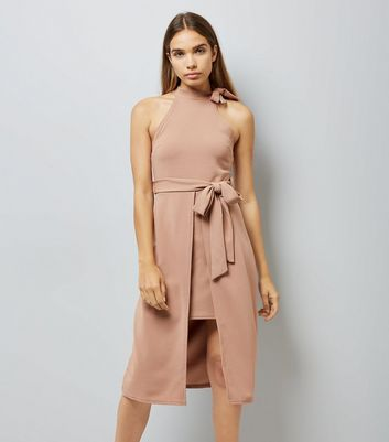 Pink Vanilla Camel Neck Tie Belted Dress