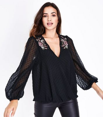 Black Spot Mesh Floral Sequin Embroidered Wrap Top