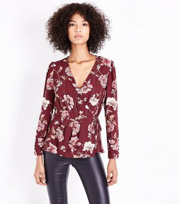 Red Floral Metallic Stripe Wrap Front Blouse