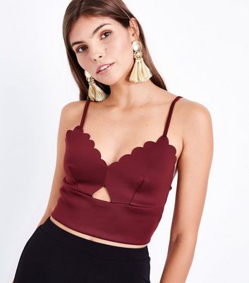 Burgundy Cut Out Front Scalloped Bralet