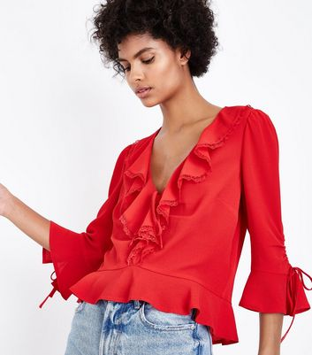 Red Frill Front Lace Trim Peplum Top