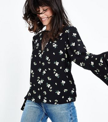 Black Floral Lace Panel Bell Sleeve Top
