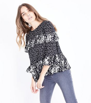 Black Floral Contrast Frill Trim Top
