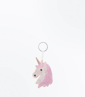 Pink Embellished Unicorn Keyring by New Look