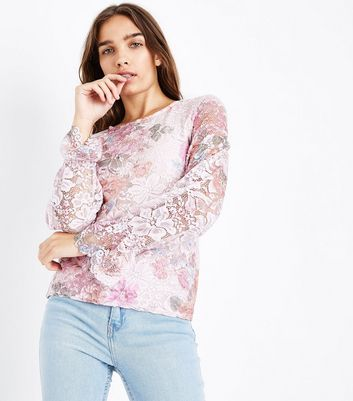 Pink Floral Print Lace Shirred Cuff Top