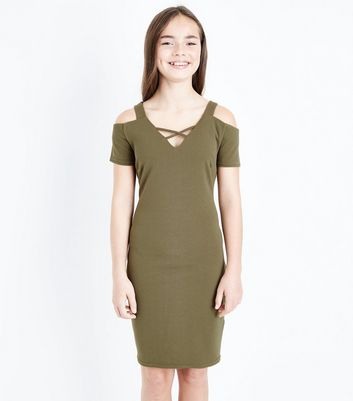 Teens Khaki Cross Front Cold Shoulder Bodycon Dress