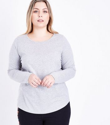 Curves Grey Crew Neck Long Sleeve Top