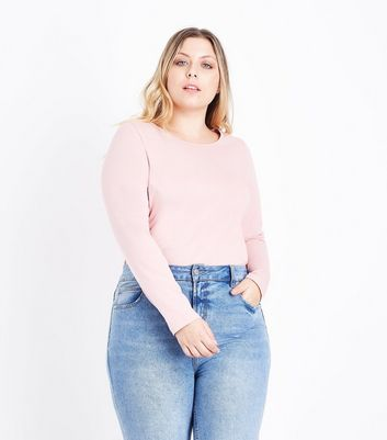 Curves Pink Crew Neck Long Sleeve Top