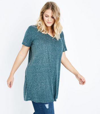 Curves Dark Green Marl Oversized T-Shirt